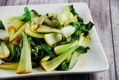 Soy and Garlic Sautéed Bok Choy - 2 Points + - LaaLoosh - added black mushrooms that we rehydrated and the dish was yummy!