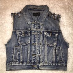 Denim Vest Studded at the shoulder // dark denim // cropped // can fit a small Jackets & Coats Vests