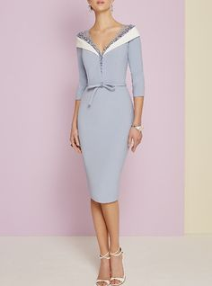 Sheath / Column Plunging Neck Knee Length Jersey Mother of the Bride Dress with Beading / Bow(s) by LAN TING Express Sexy Dresses, Evening Dresses, Fashion Dresses, Formal Dresses, Wedding Dresses, Sheath Dresses, Hijab Fashion, Mother Of Bride Outfits, Mother Of Groom Dresses