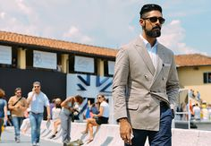 love the confidence of this double-breasted peak lapel  jacket - menswear street style, Pitti Uomo trade show