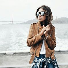 Top your leather jacket off with mirrored sunnies and a plaid shirt - vivaluxuryblog