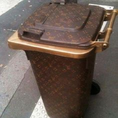Louis Vuitton monogrammed trash can