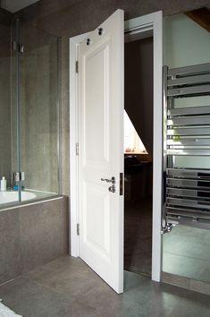 Bespoke bathroom interior door with raised door panels