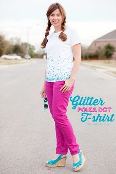 Best Diy Crafts Ideas For Your Home : How to make glitter polka dot shirt by KristenDuke.com DIY  https://diypick.com/decoration/decorative-objects/crafts/best-diy-crafts-ideas-for-your-home-how-to-make-glitter-polka-dot-shirt-by-kristenduke-com-diy/