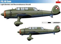 PZL.46 Sum – prototyp polskiego lekkiego bombowca i samolotu rozpoznawczego. Rys. Vincent Bourguignon.