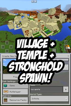 EPIC SPAWN: Desert Village/Temple Glitch plus a Stronghold below! Seed:owxapple - For Minecraft PE
