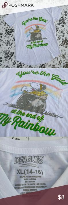 """Peanuts Snoopy Graphic Tee Girls XL 14/16 Peanuts Snoopy Graphic Tee White/ Green/ Gold """"You're the Gold at the end of My Rainbow"""" Size XL (14/16)  Girls  Approx. Measurements (Flat Lay): Bust: 18inches Sleeve: 6inches Shoulder to Hem: 23 1/4inches Peanuts Tops Tees - Short Sleeve"""