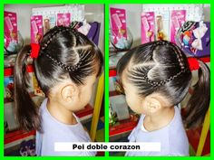 Doble corazon Cute Hairstyles, Braided Hairstyles, Heart Braid, Tips Belleza, Little Girls, Braids, Hair Styles, Beauty, Aaliyah