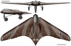 The Horten Ho IX was a late-World War II prototype flying wing fighter/bomber, designed by Reimar and Walter Horten and built by Gothaer Waggonfabrik. Description from rotorburn.com. I searched for this on bing.com/images