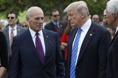 President Donald Trump stands with Secretary of Homeland Security John Kelly and Vice President Mike Pence after laying flowers on the grave of Kelly's son, First Lieutenant Robert Kelly, at Arlington National Cemetery on May 29, 2017 in Arlington, Virginia. Lt. Kelly was killed in 2010 while leading a patrol in Afghanistan.