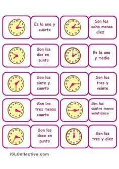 Dominó para practicar las horas - Trabajos ELE Time In Spanish, Middle School Spanish, Spanish Grammar, Teaching Spanish, Spanish Worksheets, Choice Boards, Spanish Classroom, Classroom Ideas, Educational Games