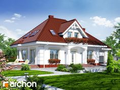 Projekt: Dom w aksamitkach 3 on Behance Small Cottage House Plans, Cottage Homes, Front Elevation Designs, Sims 4 Houses, Grand Entrance, Facade House, House Front, Home Fashion, Bungalow