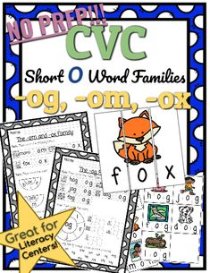 CVC *No Prep* - Short O Families -og, -om, -ox. Help your students practice reading and writing CVC words with this Short O Family resource! No prep needed! Simply print and teach. Reading Tutoring, Short O, Phonics Lessons, Family Set, Cvc Words, Kindergarten Teachers, Word Families, Word Work, Ox