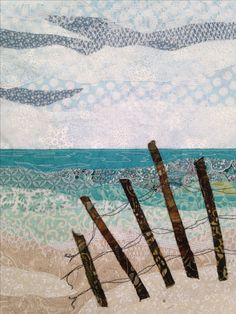 Ocean Quilt, Beach Quilt, Landscape Art Quilts, Fabric Postcards, Free Motion Embroidery, Miniature Quilts, Art Textile, Quilted Wall Hangings, Beach Scenes