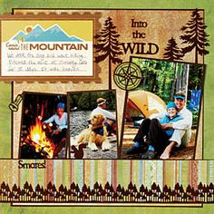 Outdoor, Mountain, Camping, Scrapbooking layout, Scrapbooking pages… Travel Scrapbook Pages, Vacation Scrapbook, Scrapbook Page Layouts, Scrapbook Paper Crafts, Scrapbook Supplies, Scrapbook Cards, Scrapbooking Ideas, Scrapbook Photos, Photo Layouts