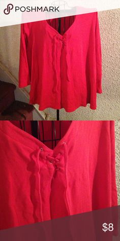 Red top Long sleeve red top with cross-cross tie in the front, two small slits on the side down at the bottom..cotton material Venezia vitale Tops Tees - Long Sleeve
