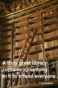 """""""A truly great library contains something in it to offend everyone."""" (~Jo Godwin)"""