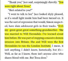 Jace and Clary talking about Tessa and Will