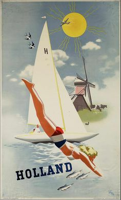 Add retro wall decor with a Holland Travel Poster for home or business. All Holland Windmill Posters are tabbed on the back and ready to hang. Retro Poster, Poster S, Vintage Travel Posters, Poster Prints, Vintage Advertisements, Vintage Ads, Party Vintage, Tourism Poster, Poster Pictures