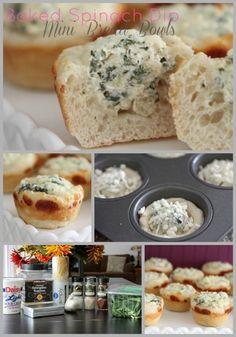 Mini spinach dip bread bowls!