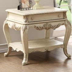 Astoria Grand Welling End Table with Storage Color: Antique White