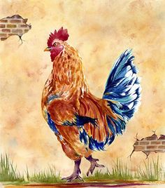 ROOSTER II by Suzanne  Shaffer Watercolor I really like the colors she chose.