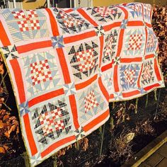 "Sharing Caroline's Goose in the Puddle quilt from Scraps & Shirttails II! (Which is now in the Sale Section of the Quiltville Store at Quiltville.com/shop.html along with Scraps and Shirttails at DEEP DISCOUNTS!) She writes: ""Just finished my latest from Dad's old shirts. There's an ink stain included this one - one of Dad's pens leaked in his pocket and the stain never came out. It's the most precious memory! Thanks Bonnie for the pattern! ❤ It's from her book Scraps & Shirttails II - Goose…"