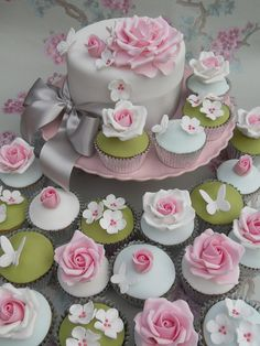 Pink and green wedding cake and cupcake by Cotton and Crumbs in the UK
