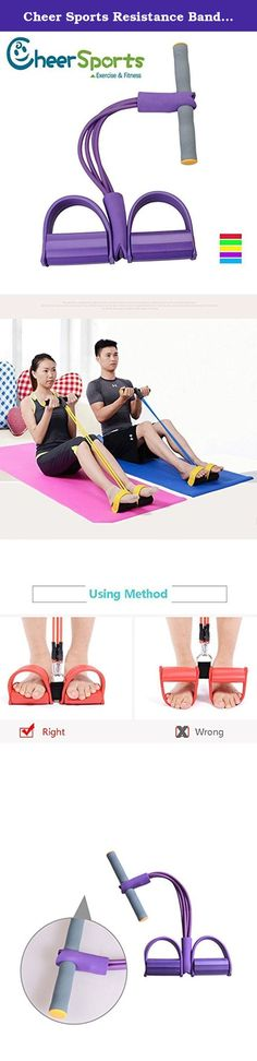 Cheer Sports Resistance Band Fitness Tubing Exercise Pulling Rope Sit-up Bar Exercise Device Fitness Exercise Equipment with Pedal and 4 tubes (Purple). Description: Material: NBR Foam, TPR High Quality Latex Size: Handle: 26cm Pedal(L x H): 12*25cm dual-use product:sit up exercise equipment and chest expander Built with the best quality materials and enhanced strong springs to endure long-term and frequent use. It can be used at home or in the office to shape your body, trim the waist…