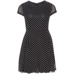 Manon Baptiste Black / White Plus Size Tailored polka dot dress ($170) ❤ liked on Polyvore featuring dresses, black, plus size, women plus size dresses, cap sleeve fit and flare dress, fit and flare dress, cap sleeve dress and plus size full skirt