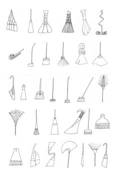 schmumel: analytic broom research. more brooms here (via my workspace:candy-striped) thats how i love to work… :) Brooms And Brushes, Things Organized Neatly, Wiccan Art, Witch Broom, Doodle Inspiration, Doodle Drawings, Book Of Shadows, Moleskine, Hand Lettering