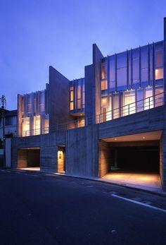 Photo Blue, Japanese House, Dusk, Blue Yellow, Scale, Multi Story Building, Public, Exterior, House Design