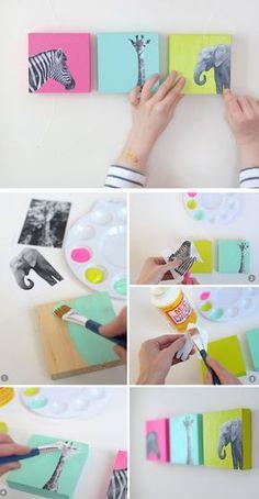 Faça você mesmo de quadrinhos coloridos criativo. Ficou lindo com os animais em preto e branco. Bacana para decoração!