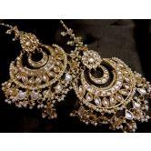 Designer Kundan Gold Plated Royal Big Danglers With Kundan Kaanchain