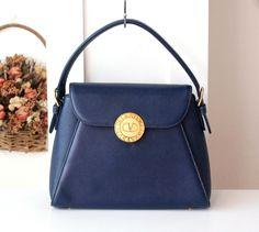 Valentino Garavani Bag Navy Tote Handbag authentic vintage purse by hfvin on Etsy  #valentino #garavani #bag #navy #tote #authentic #vintage