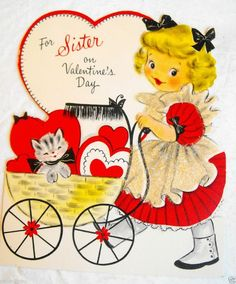 Vintage valentine card vintage valentines vintage and vintage cards vintage valentines day card for sister cute girl kitten sparkles m4hsunfo Choice Image
