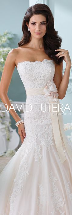 The David Tutera for Mon Cheri Spring 2016 Wedding Gown Collection - Style No. 116225 Thea #laceweddingdresses