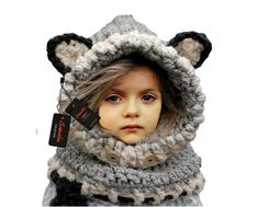 3ca3db3be54 Sumolux Winter Kids Warm Fox Animal Hats Knitted Coif Hood Scarf Beanies for  Autumn Winter Girl