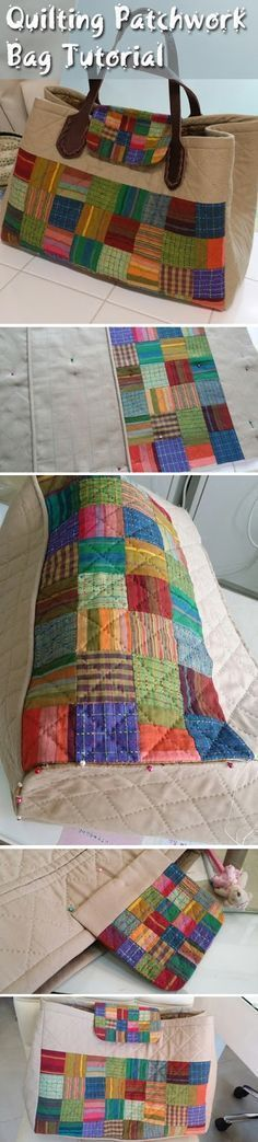 Quilting Patchwork Bag Tutorial DIY step by step. Patchwork bag, sewing instructions ~www. Patchwork Bags, Quilted Bag, Patchwork Quilting, Diy Quilting, Crazy Patchwork, Purse Patterns, Quilt Patterns, Sewing Patterns, Quilting Projects
