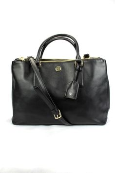 *Reduced* TORY BURCH ROBINSON DOUBLE ZIP BLACK SAFFIANO LARGE LEATHER HANDBAG  #ToryBurch #TotesShoppers