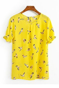 Birds Printing Bowknot Casual T-Shirt