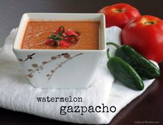Watermelon Gazpacho. It sounds so fancy and exotic, but really it's just a delicious and refreshing cold soup. It's also incredibly simple to prepare. It was only recently that I opened my eyes mouth to gazpacho, a chilled, Spanish-style soup. In my mind, soup is supposed to provide warmth and comfort – not cool refreshment. Well, …