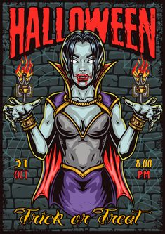 Colorful spooky Halloween vector poster design with Vampire Girl.