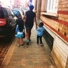 Cute blue family walking.