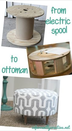 Turn an electrical spool into a beautifully upholstered round ottoman!