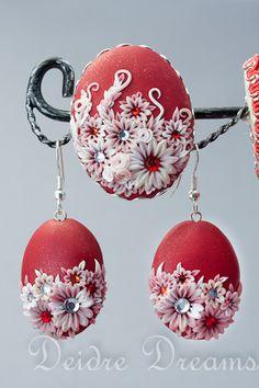 - SOLD - Frost & Fire Bouquet Earrings and Brooch Set - Custom Order  www.etsy.com/shop/DeidreDreams