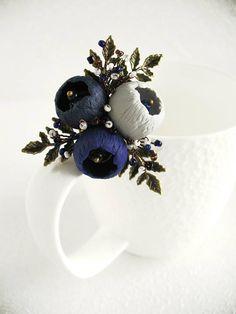 Brooch Melody Pin Blue brooch polymer clay jewelry Dark blue