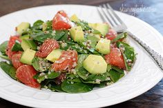 This salad is loaded with vitamin C, A, Potassium and good heart-healthy fats!!  There is something wonderful to me about biting into a salad with grapefruit. It's juicy and refreshing and lends a sort of bitter-sweetness to each bite.