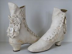 antique Dutch Bridal Wedding Boots, 1880 - completely handstitched kid leather