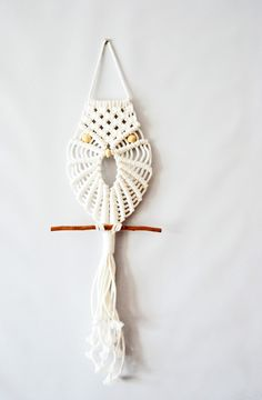 Modern Macrame Owl Wall Hanging by TheVintageLoop on Etsy, $42.00